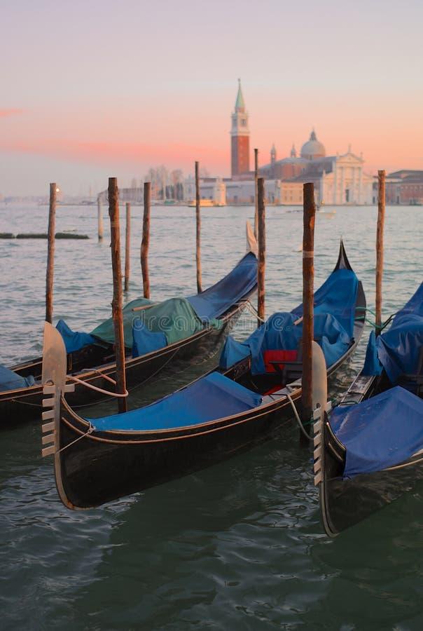 Förtöjde svarta gondoler i Venedig royaltyfria foton