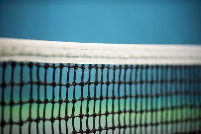 Förtjäna av tennisbanan på blå väggbakgrund royaltyfria bilder