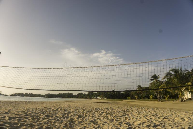 Förtjäna för att spela volleyboll på stranden arkivbilder
