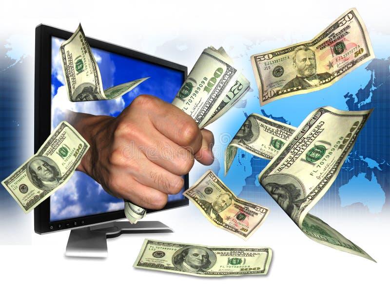 Förtjänstinternetpengar royaltyfria bilder
