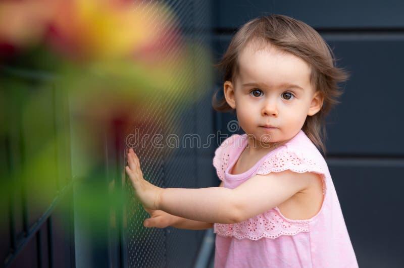 Förtjusande behandla som ett barn flickan i rosa sommarklänning på mörk bakgrund royaltyfri bild