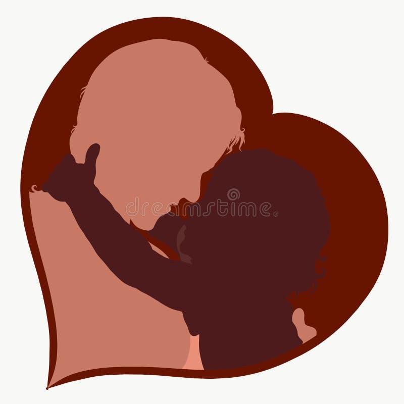 Förtjusande behandla som ett barn krama hans mamma, hjärta, familjkonturer vektor illustrationer
