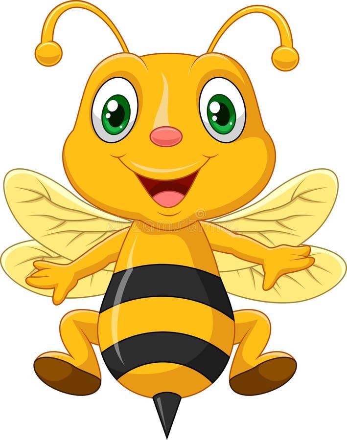 Förtjusande bin för tecknad film stock illustrationer