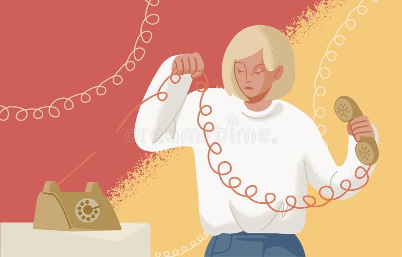Förtjusande blond telefonlur för kvinnainnehavtelefon med sönderriven tråd Begreppet av avbrottet upp, assertiveness, kopplar frå royaltyfri illustrationer