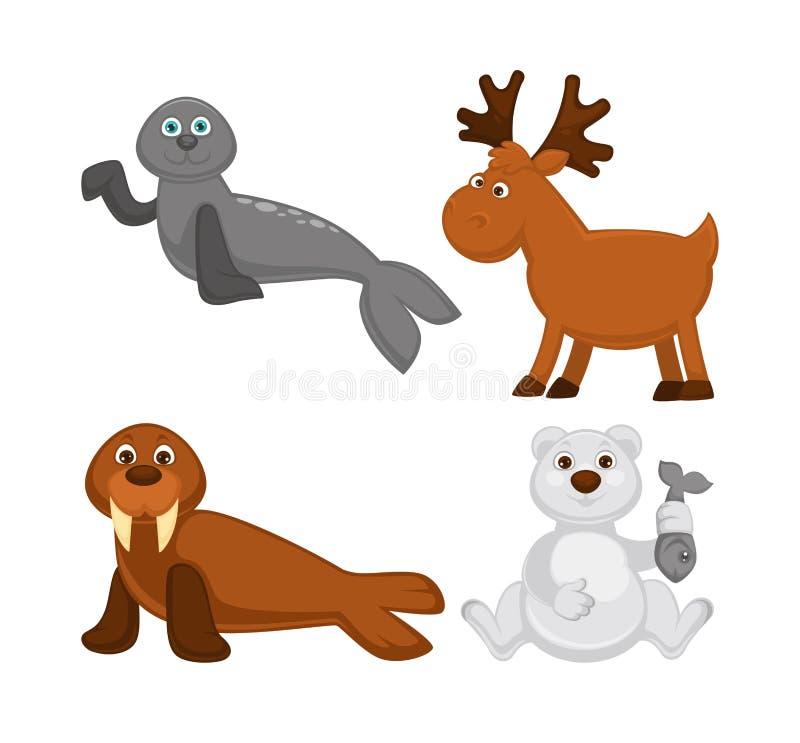 Förtjusande djur från kalla länder och nordpolen royaltyfri illustrationer