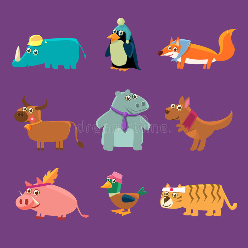 Förtjusande djursamling stock illustrationer