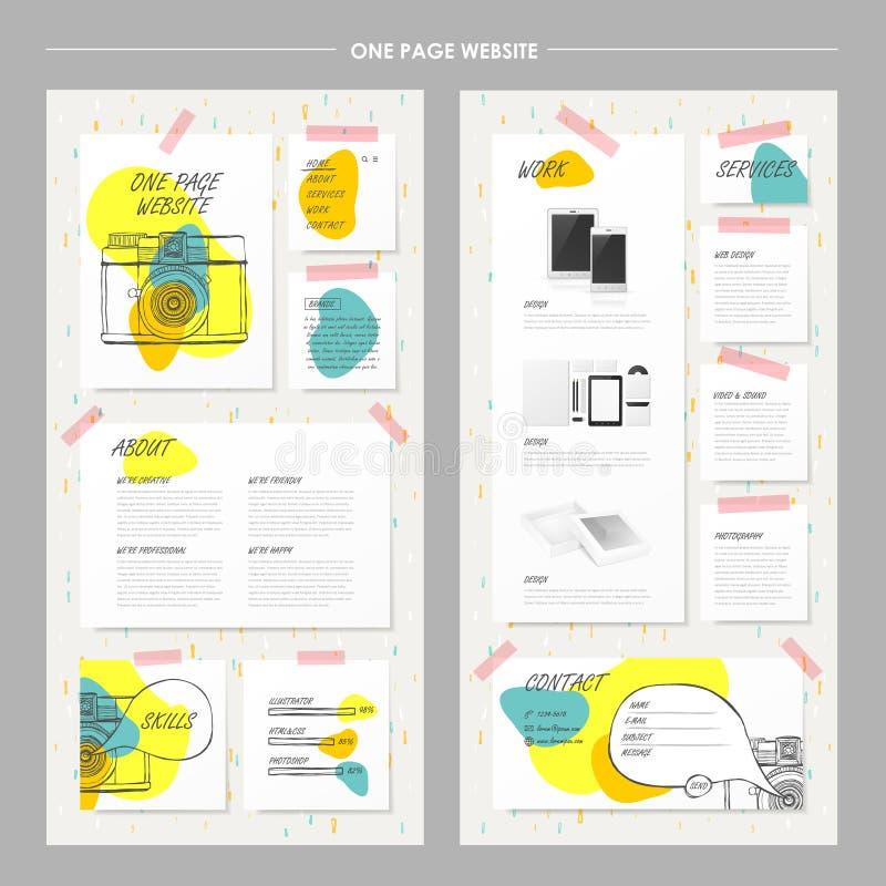 Förtjusande en sidawebsitedesign stock illustrationer
