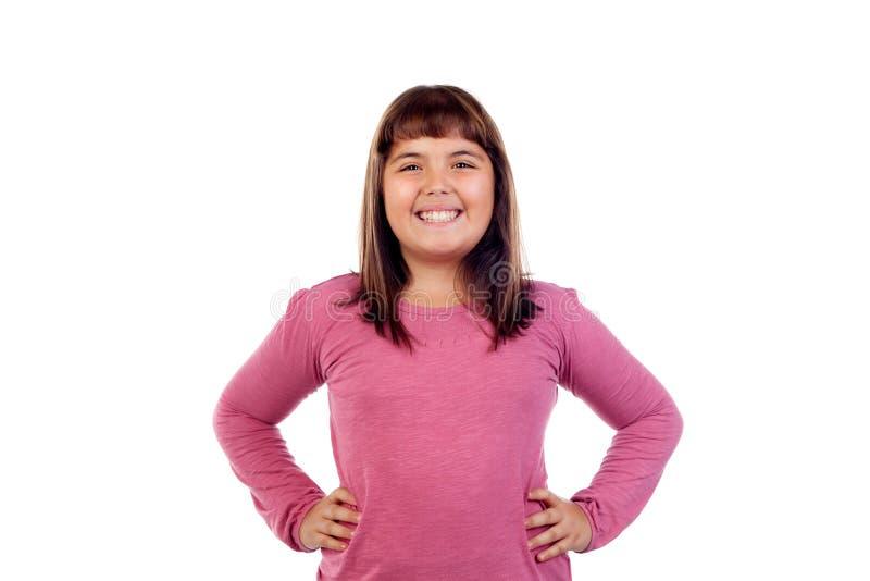 Förtjusande flicka med elva gamla år royaltyfri fotografi