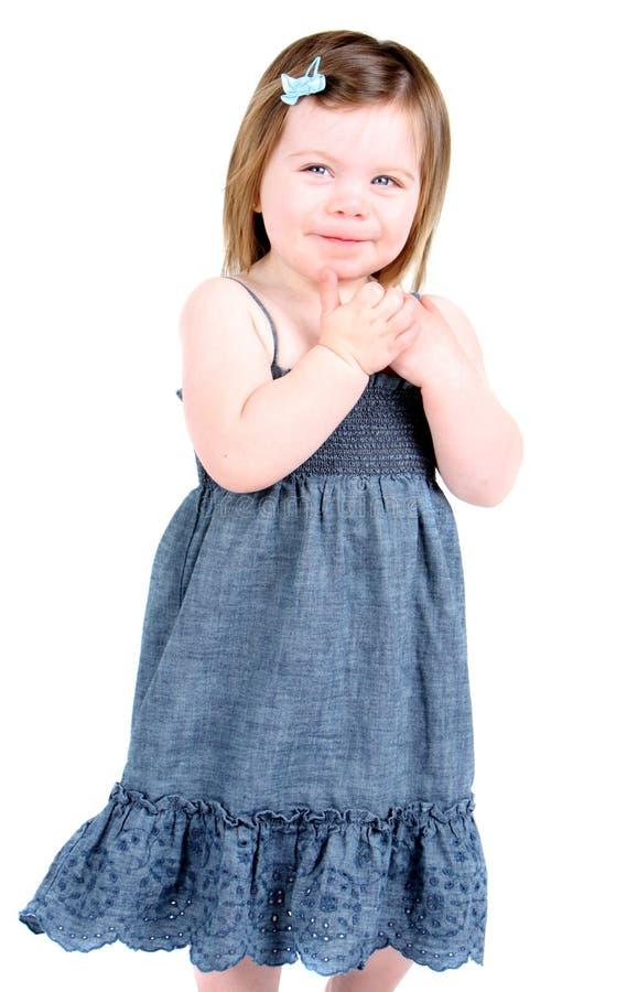 förtjusande flicka som isoleras little som är vit fotografering för bildbyråer