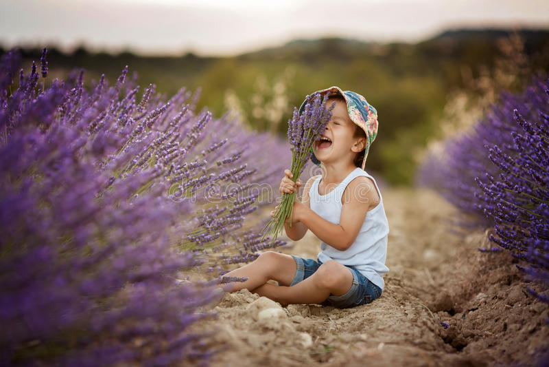 Förtjusande gullig pojke med en hatt i ett lavendelfält arkivfoton