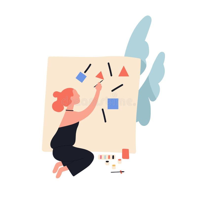 Förtjusande gullig readheadkvinna som målar abstrakta geometriska former på kanfas Kvinnlig modern konstnär som skapar bilden stock illustrationer