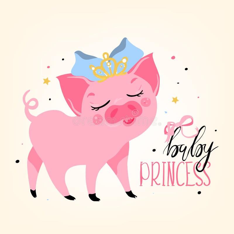 Förtjusande gulligt, tecknade filmen, ljust rosa piggy svin för lägenhet behandla som ett barn prinsessan stock illustrationer