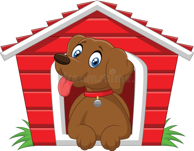 Förtjusande hund för tecknad film i buren stock illustrationer