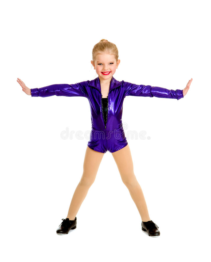 Förtjusande Junior Tap Dancer Student royaltyfria bilder
