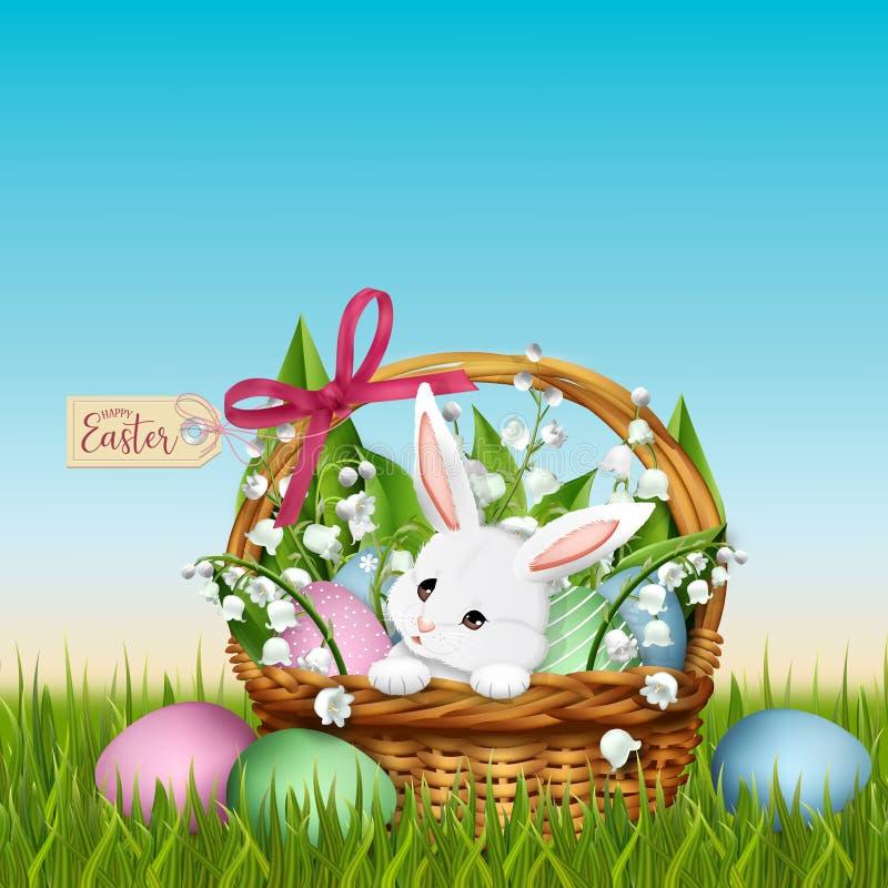 Förtjusande kanin i vide- korg Påskvårbakgrund stock illustrationer