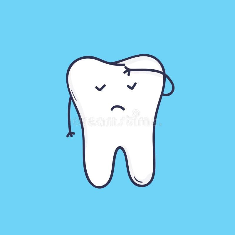 Förtjusande kindtandtand med framsidan som täcker dess panna med handen Gullig maskot eller symbol för tand- klinik eller muntlig royaltyfri illustrationer