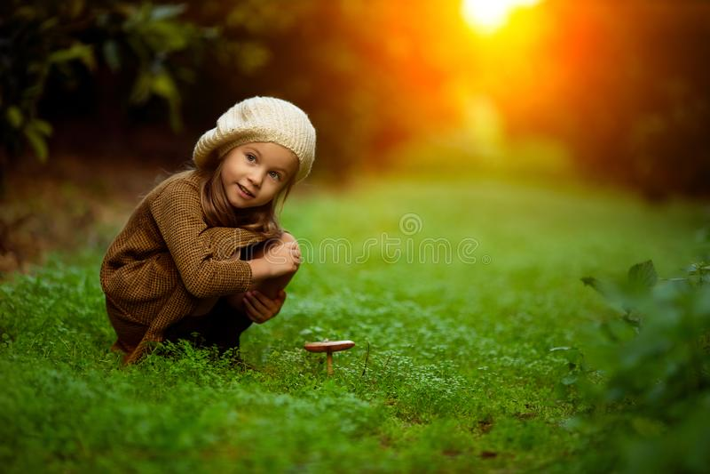 Förtjusande liten flicka som fotvandrar i skogen på sommardag arkivfoton