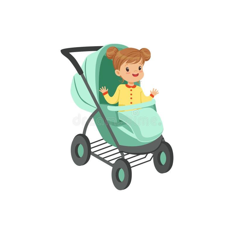 Förtjusande liten flickasammanträde i en turkos behandla som ett barn sittvagnen, säkerhetshandtagtrans. av den lilla ungevektorn stock illustrationer