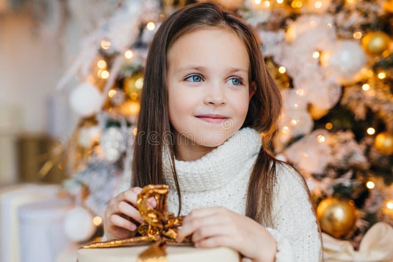 Förtjusande litet kvinnligt barn med varma blåa ögon, långt mörkt hår royaltyfri bild