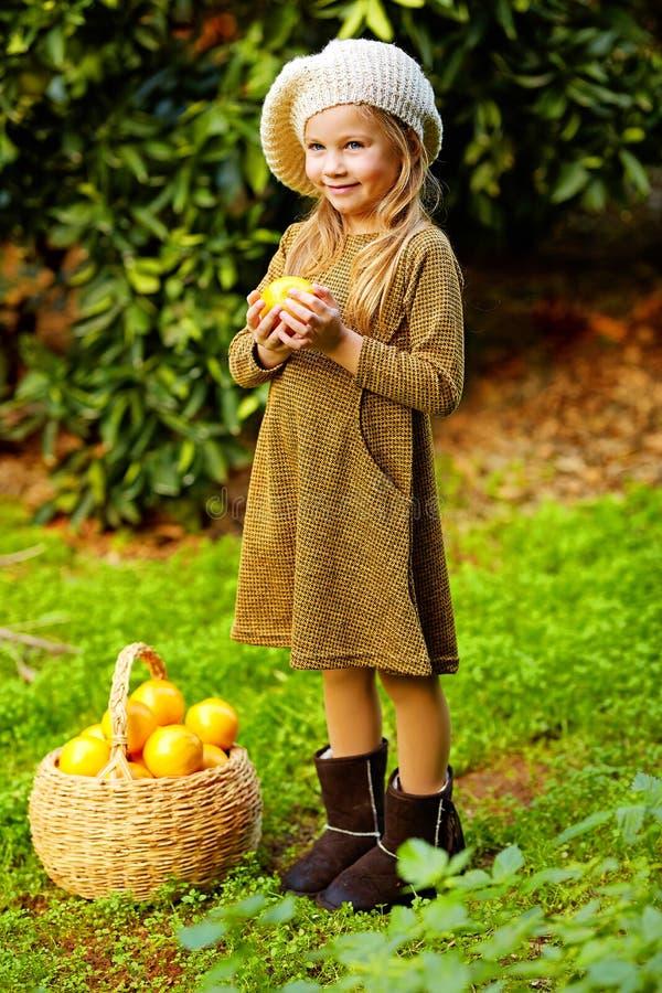 Förtjusande lycklig liten flicka med korgen mycket av den mogna smakliga mandarinen och apelsinov citrus orange pamela för samlin royaltyfri bild