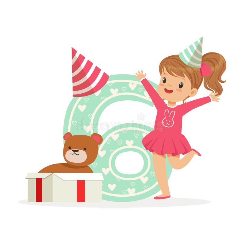 Förtjusande lycklig sex årig flicka i en partihatt som firar hennes födelsedag, färgrik illustration för vektor för tecknad filmt vektor illustrationer