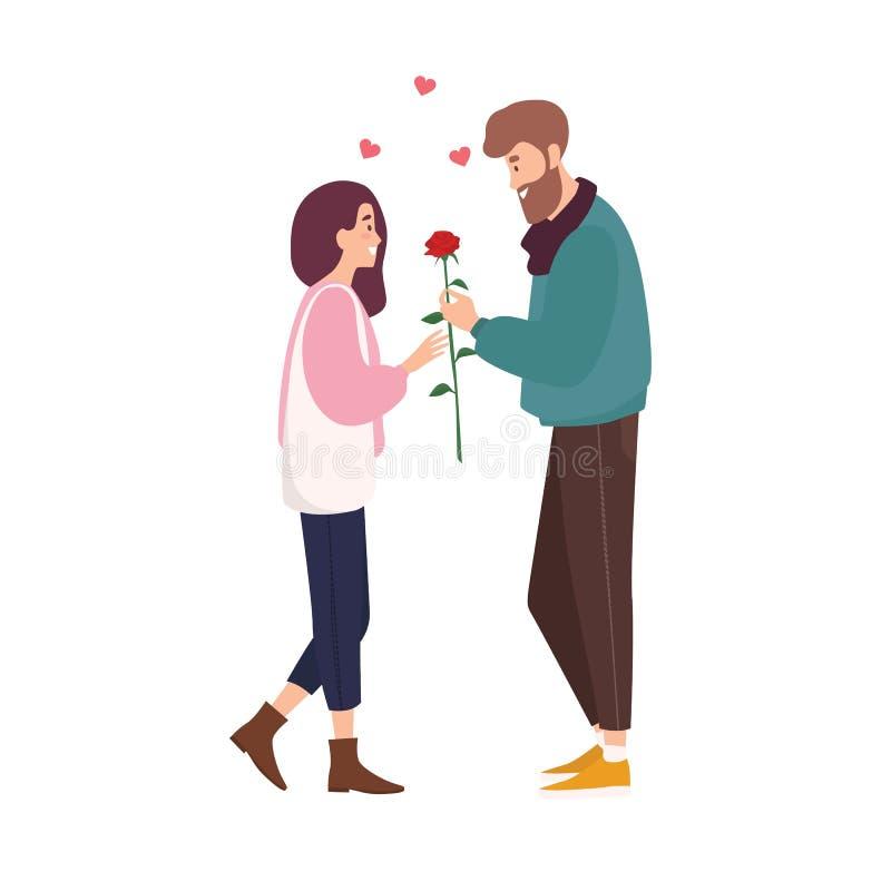 Förtjusande lyckliga par som är förälskade på romantiskt datum Gullig le pojke som ger den rosa blomman till flickan Den unga man stock illustrationer
