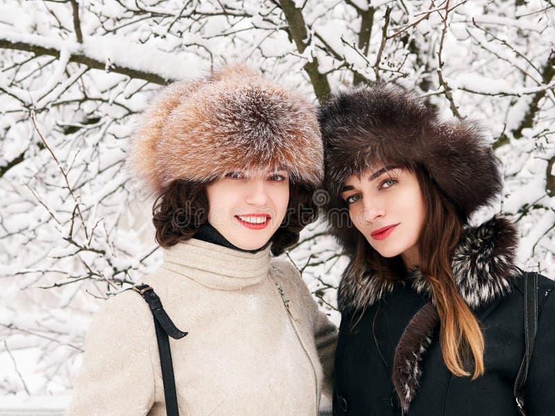 Förtjusande lyckliga unga brunettkvinnaflickvänner i pälshattar som har rolig snöig vinter, parkerar skogen i natur royaltyfria foton