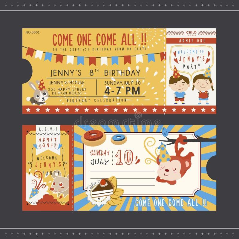 Förtjusande mall för inbjudan för tecknad filmfödelsedagparti vektor illustrationer