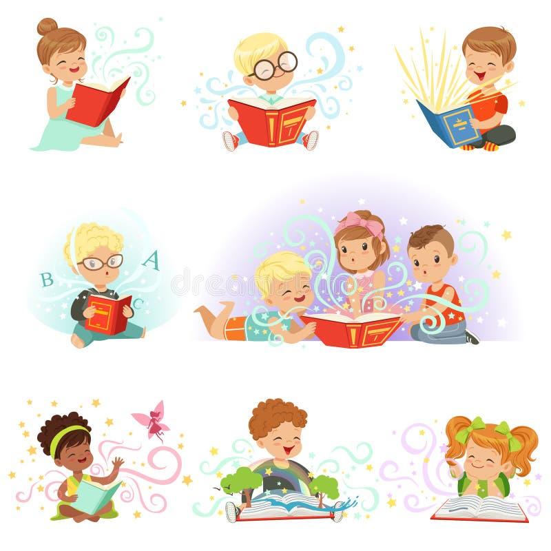 Förtjusande pyser och flickor som sitter och läser sagor, ställde in Lurar sagolika fantasivektorillustrationer stock illustrationer