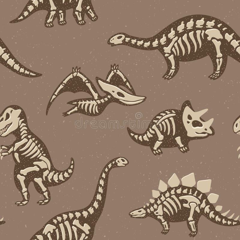 Förtjusande sömlös modell med roliga dinosaurieskelett i tecknad filmstil stock illustrationer
