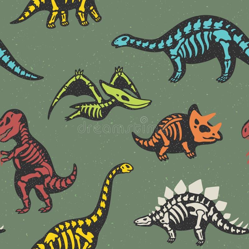 Förtjusande sömlös modell med roliga dinosaurieskelett i tecknad filmstil royaltyfri illustrationer