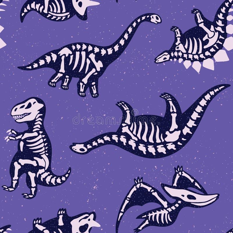 Förtjusande sömlös modell med roliga dinosaurieskelett i tecknad filmstil vektor illustrationer