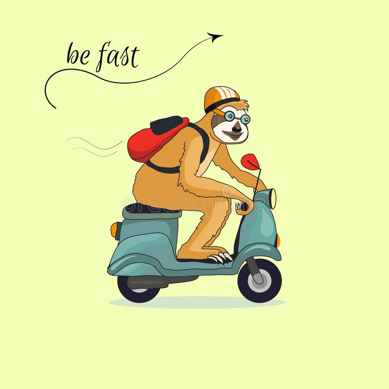 Förtjusande sengångare som rider en blå sparkcykel En sengångare reser med motorcykeln i en hjälm och med en röd ryggsäck Tropisk stock illustrationer