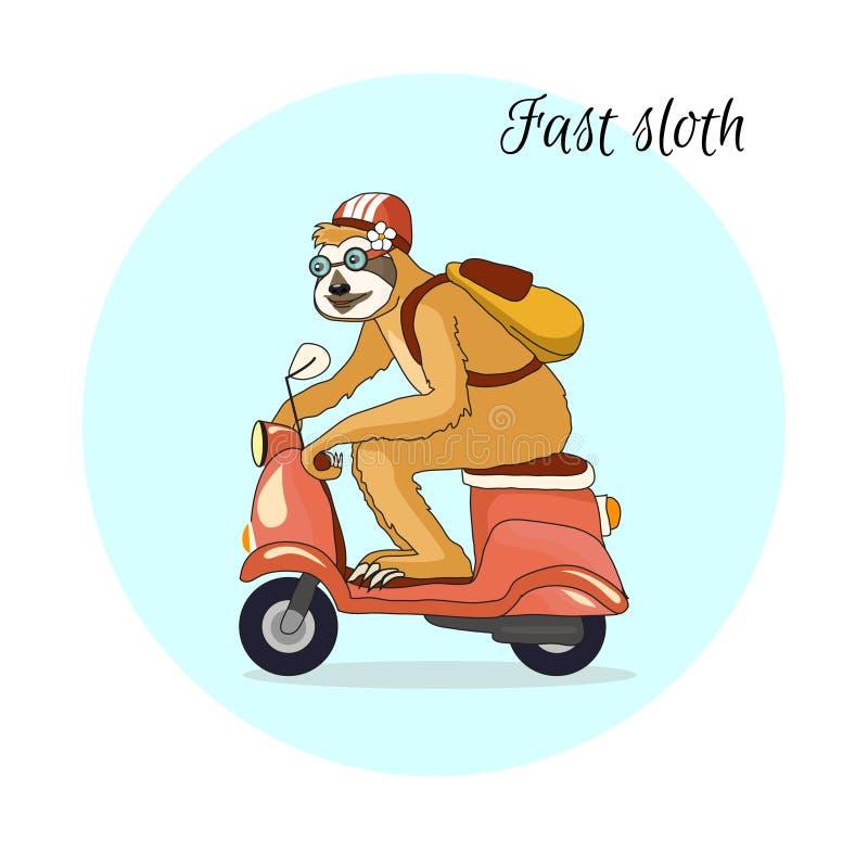 Förtjusande sengångare som rider en rosa sparkcykel Enflicka reser med motorcykeln i en hjälm och med en gul ryggsäck tropisk mod royaltyfri illustrationer