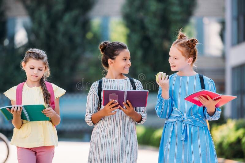 förtjusande skolflickor med anteckningsböcker som tillsammans spenderar tid efter royaltyfri bild