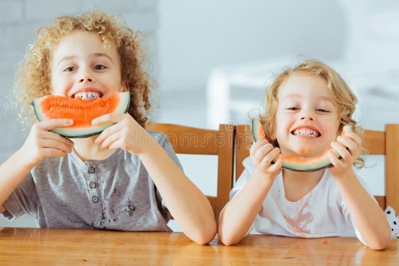 Förtjusande syskon som äter vattenmelon royaltyfri bild