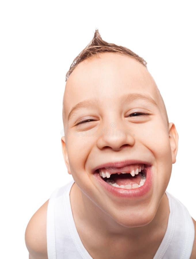 Förtjusande tandlöst leende arkivfoton