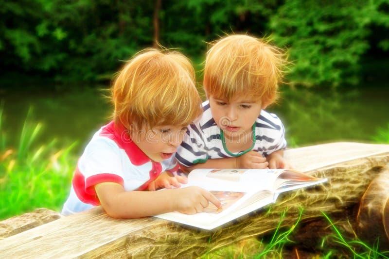 Förtjusande tvilling- bröder som läser en bok nära sjön på sommar arkivbilder