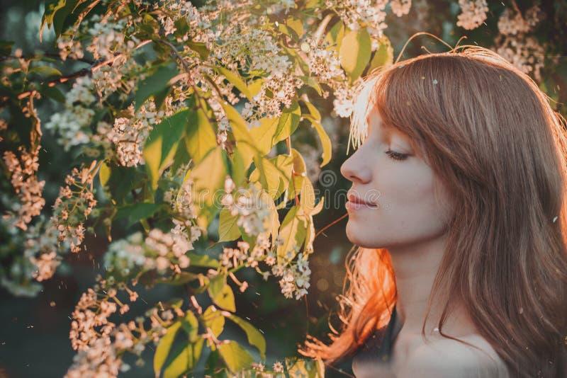 Förtjusande witn för ung kvinna som blommar blommaträdet royaltyfria foton