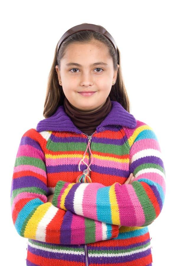 förtjusande woollen flickaomslag arkivfoton