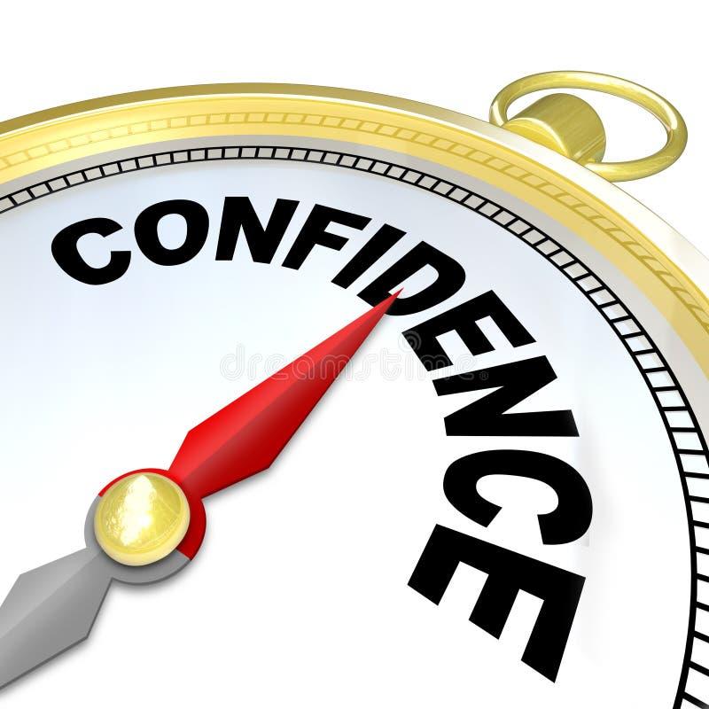 Förtroende - kompasset leder dig till framgång och tillväxt stock illustrationer