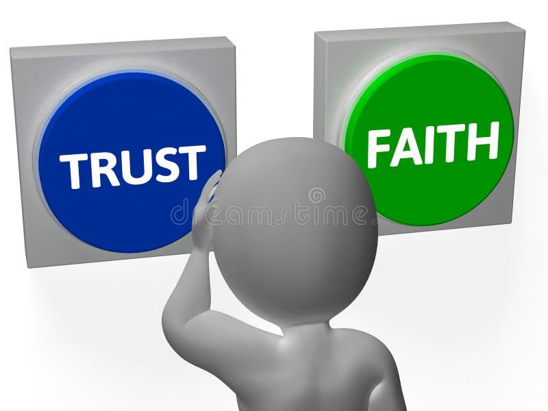 Förtroendetroknappar visar förtroendefullt eller trofasthet stock illustrationer