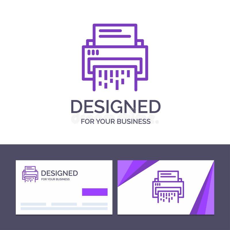 Förtrolig idérik mall för affärskort och logo, data, borttagnings, dokument, mapp, information, dokumentförstörarevektorillustrat stock illustrationer