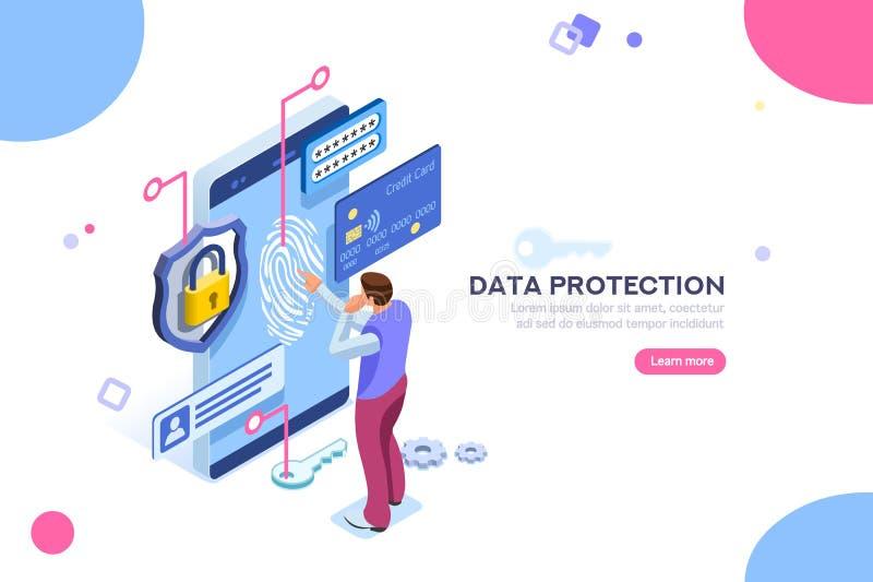 Förtroligt begrepp för kontroll för kreditkort för dataskydd royaltyfri illustrationer