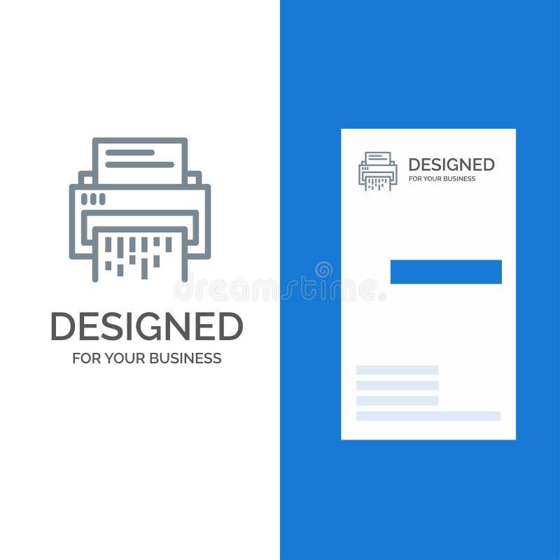 Förtroligt, data, borttagnings, dokument, mapp, information, dokumentförstörare Grey Logo Design och mall för affärskort royaltyfri illustrationer