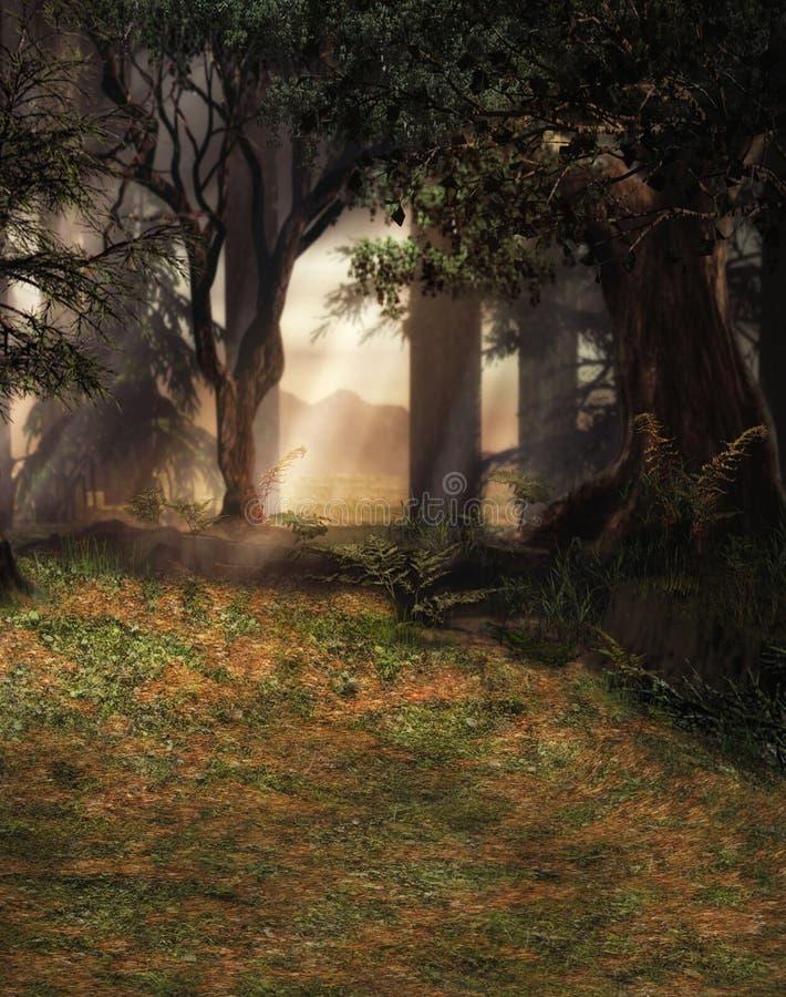 Förtrollad skogplats royaltyfri illustrationer