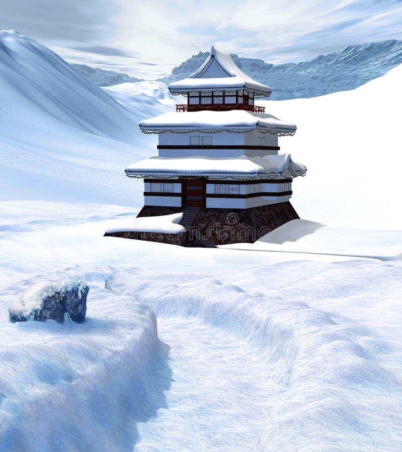 Förtrollande forntida asiatisk slott i vinter royaltyfri illustrationer