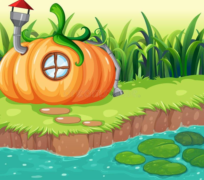 Förtrollat pumpahus i natur stock illustrationer