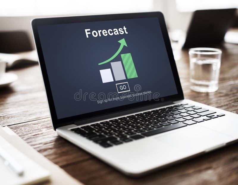 Förutsäger den framtida planläggningen för prognosbedömningen strategibegrepp arkivbild