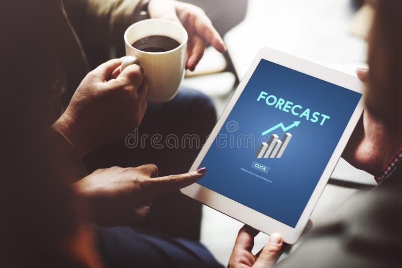 Förutsäger den framtida planläggningen för prognosen strategitrendbegrepp arkivfoto
